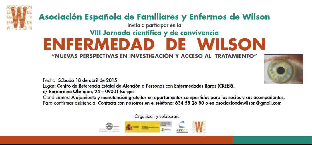 Invitación VIII Jornada científica y de convivencia Enfermedad de Wilson